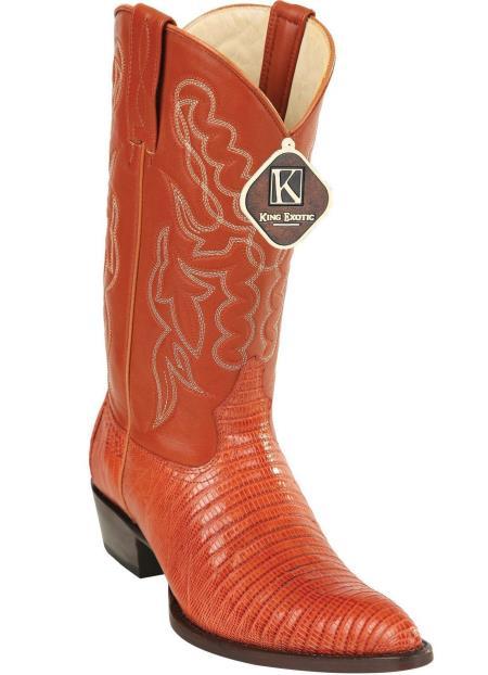 Men's Handmade King Exotic Cowboy Style By los altos botas For Sale Teju Lizard Skin Print J Toe Cowboy Dress Cowboy Boot Cheap Priced For Sale Online Cognac