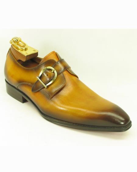 Men's Leather Fashionable Carrucci Buckle Style Cognac Shoes