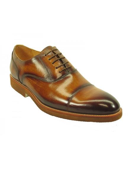 Mens Fashionable Carrucci Genuine Leather Oxford Shoes Cognac