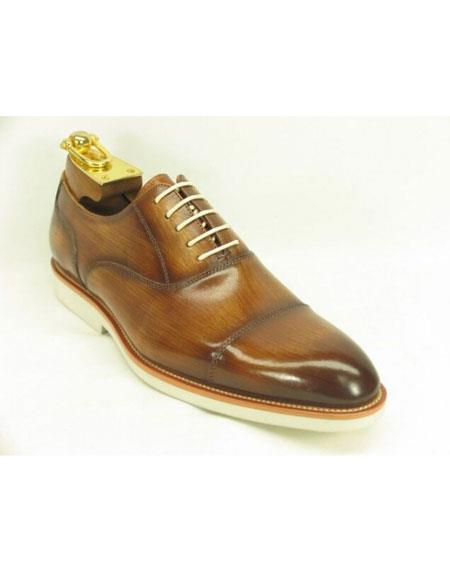 Mens Fashionable Carrucci Genuine Leather Oxford Shoes Cognac With White Sole