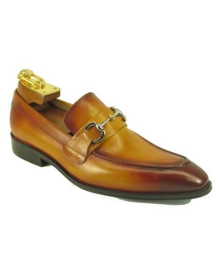 Men's Cognac Leather Fashionable Carrucci Slip On Style Ombre Shoes