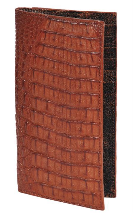 SKU#THN9128 Wallet ~ billetera ~ CARTERAS Cognac Genuine Crocodile Check Book Holder Wallet