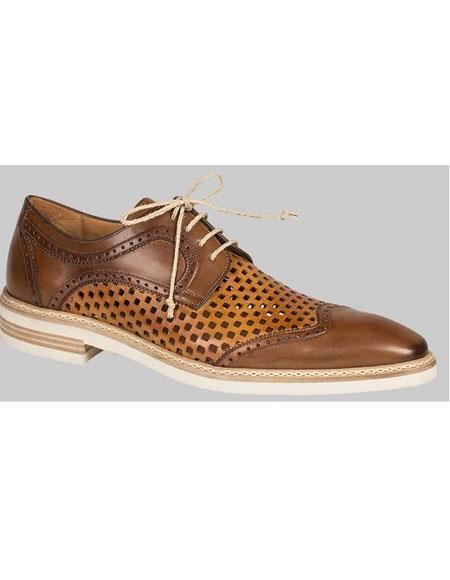 GD490 Men's Lace Cognac Perforated Summer Casual Wingtip Shoes Authentic Mezlan Brand