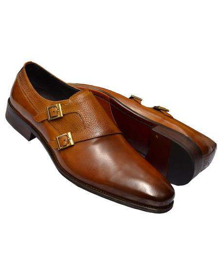 Carrucci Men's Cognac Burnished Double Monk Strap Genuine Calfskin Leather Shoes- Men's Buckle Dress Shoes