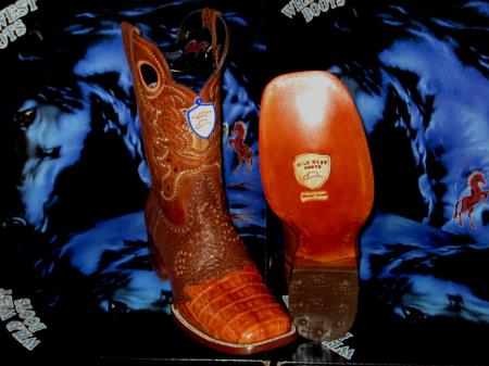 Buy C89-K Wild West Genuine Crocodile ~ Alligator Belly Square Cognac Rodeo Western Cowboy Boot