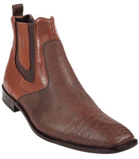 Mens Cognac Genuine Shark Dressy Boot Ankle Dress Style For Man