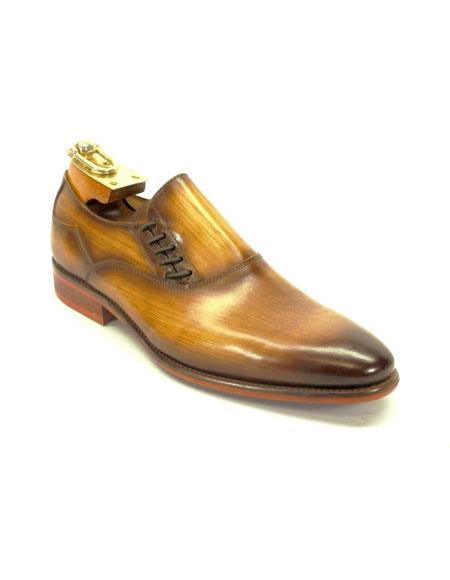 Men's Carrucci Decorative Cognac Lace-up Slip-on Stylish Dress Loafer Shoes