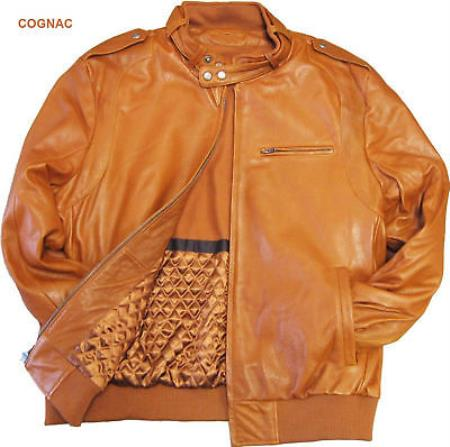 Mens Leather Bomber Jacket Soft Lambskin Cognac tanners avenue jacket