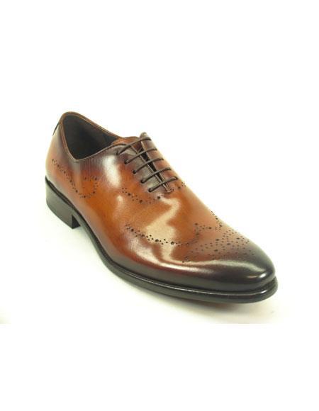 Men's Fashionable Carrucci Cognac Lace Up Leather Shoe