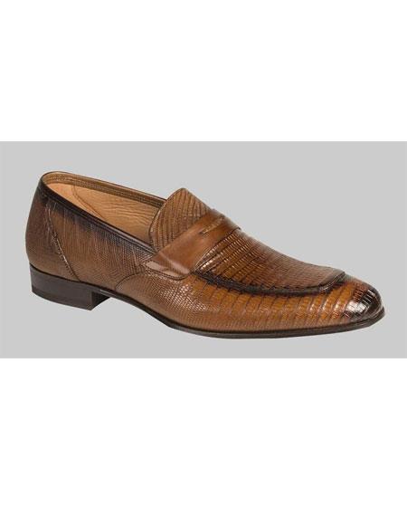 Buy GD518 Men's Cognac Lizard Skin Penny Loafers Shoes Authentic Mezlan Brand