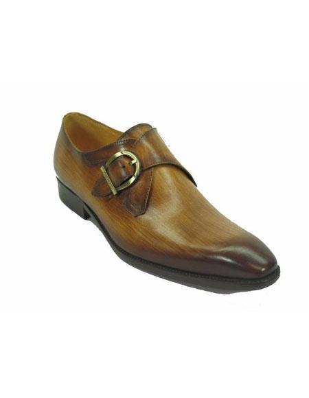 Mens Carrucci Monk Strap Fashionable Cognac Buckle Leather Loafer
