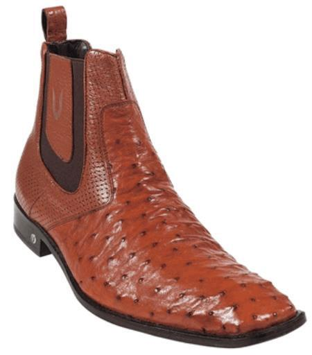 Men's Cognac Full Quill Ostrich Dressy Boot Ankle Dress Style For Man