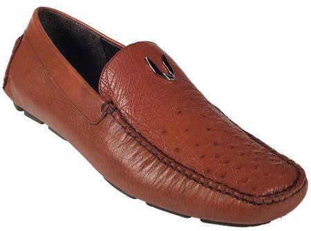 Cognac Full Quill Ostrich Driver Vestigium Driving Shoes slip on loafers for men