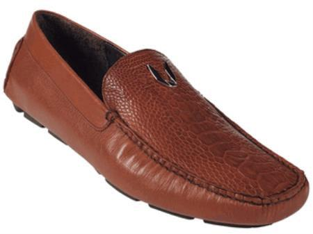Mens Cognac Genuine Ostrich Leg Driver Vestigium Driving Shoes slip on loafers for men