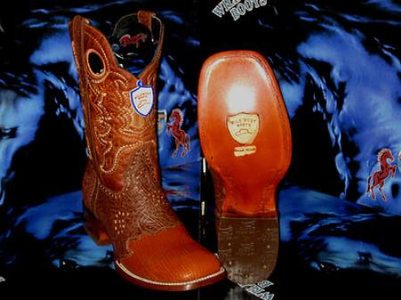 Buy KL6783 Wild West Square Cognac Genuine Shark Rodeo Western Cowboy Boot