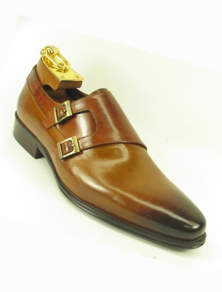 Mens Slip On Fashionable Carrucci Side Double Buckle Style Cognac Stylish Dress Loafer