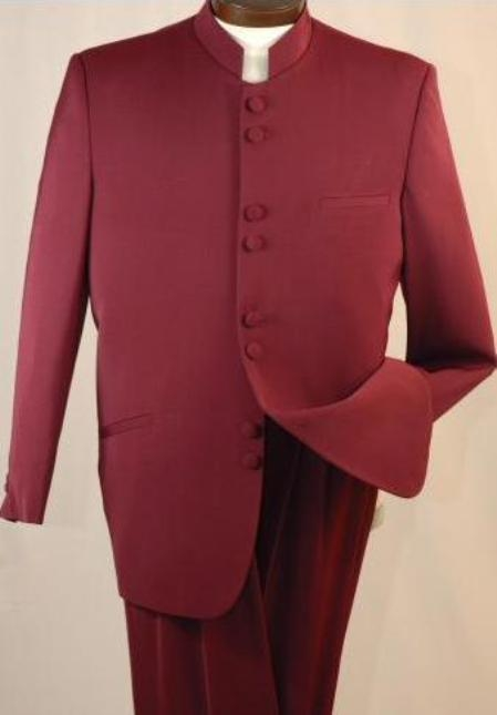 SKU# Banded Collar M-55A SHARP MENs. MANDARIN COLLAR SUIT BURGUNDY $129