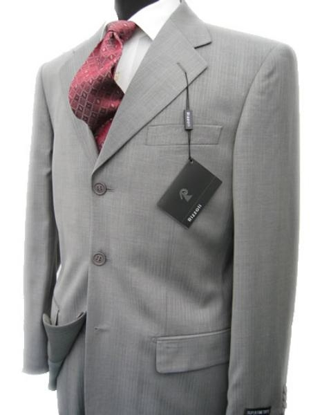SKU# CL200 Collezinai MEN SUIT~150S WOOL~LIGHT GRAY Shark Skin Suit $175
