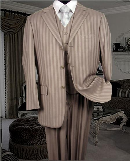 SKU# ASG321 $1295 UMO Collezion Nicest Tan/Beige Ton On Ton Shadow Pinstripe Vested 3 Buttons Mens Suits $285