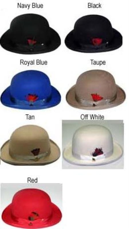 Any Color bowler derby style ~ Bowler Hat Very Soft and Silky Sovereign Quality Finish 100%Wool $49