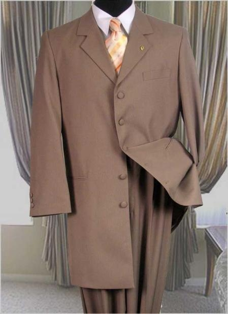 SKU#UZA77Solid Color Fashion Zoot Suit Tan ~Beige~khaki Fashion Long Jacket Mens Suit $175