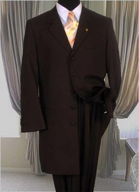 SKU#ACA775GA Solid Color Fashion Zoot Suit in Brown Fashion Long Jacket Mens Suit