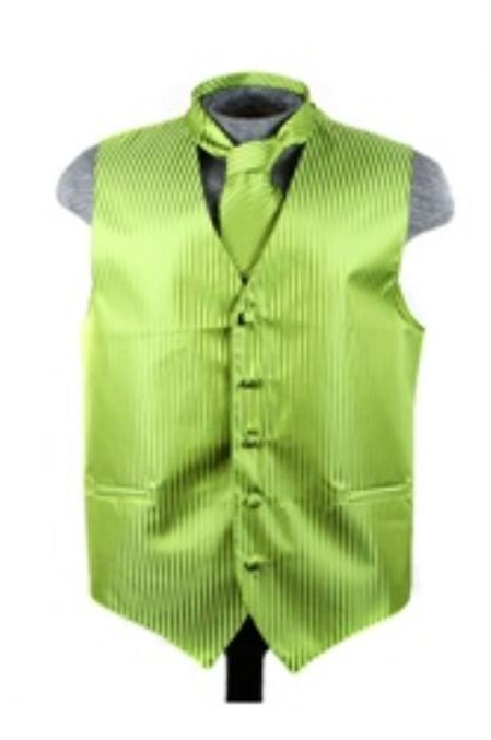 SKU#VS6086 Vest Tie Set Spinach Green