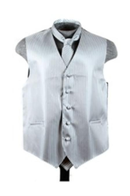 Dress Tuxedo Wedding Vest ~ Waistcoat ~ Waist coat Tie Set Grey Buy 10 of same color Tie For $25 Each