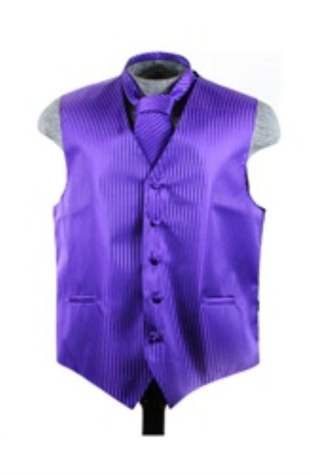 SKU#VS6012 Vest Tie Set Purple