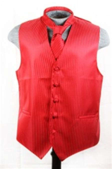 SKU#VS6998 Vest Tie Set Red