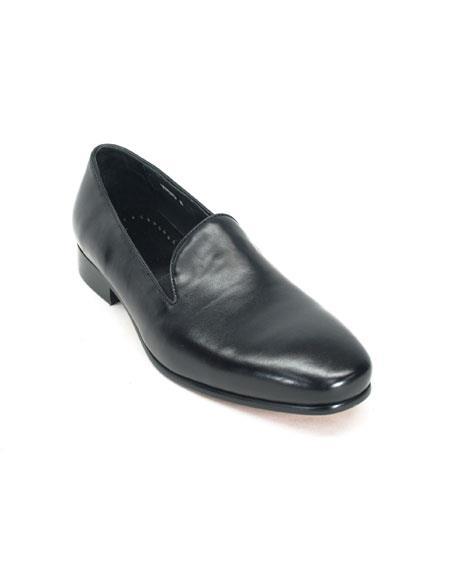 Mens Carrucci Slip On Comfort Black Leather Fashionable Loafer