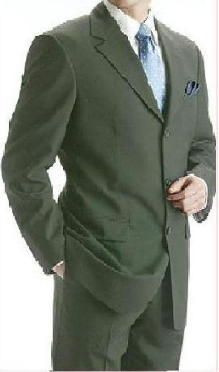 SKU# 3B9 Conservative Olive Green Super 150 Wool 3 Buttons Mens premier quality italian fabric Suits