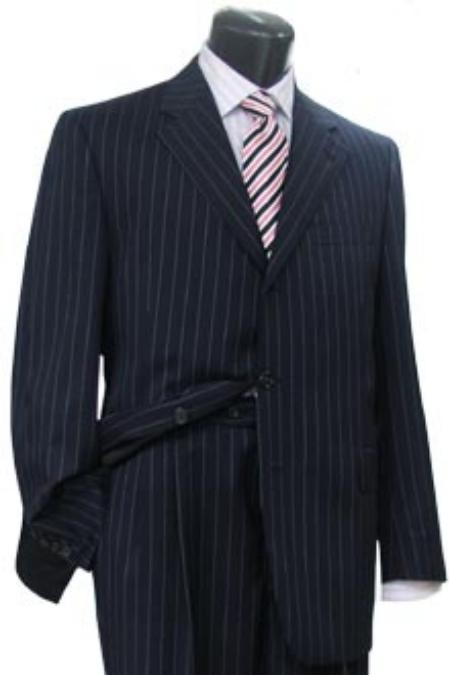 SKU# GX707 Conservative Navy Blue Pinstripe premier quality italian fabric 3 Buttons Men Dress Suit $175