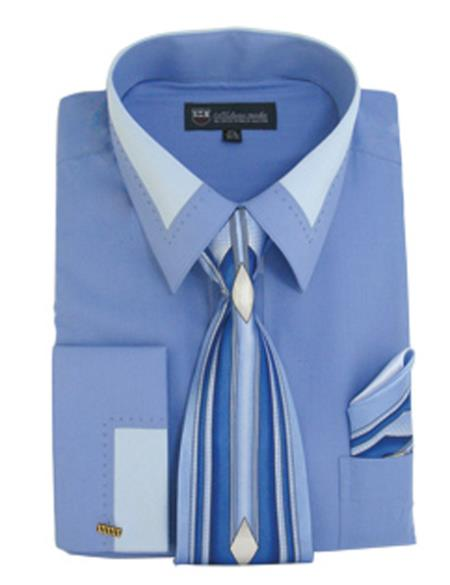 Buy SS-7456 Mens Blue Fashion French Cuff Contrast Collar Dress Shirt