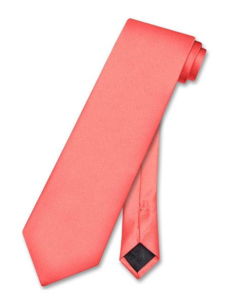 Men's Solid Pattern Polyester Salmon ~ Coral Pink color Neck Tie