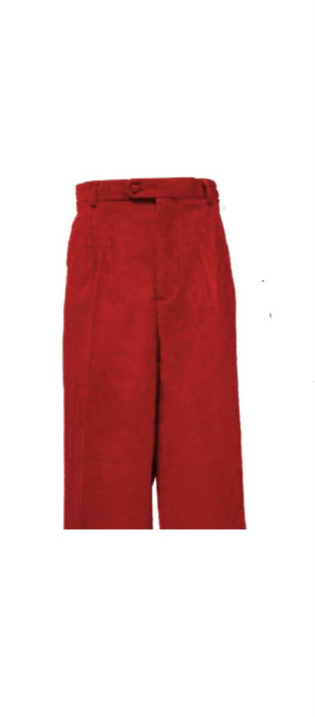 Corduroy Burgundy ~ Wine ~ Maroon Color Pleated Pants Slacks For Men unhemmed unfinished bottom