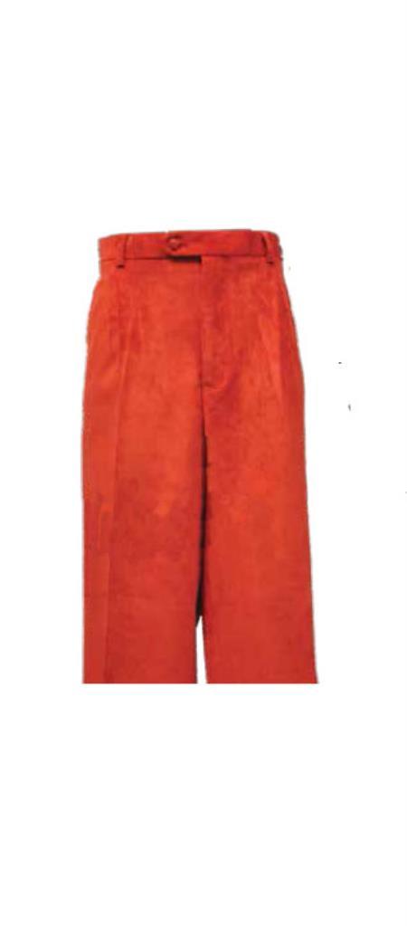 Corduroy Red Pleated Pants Slacks For Men unhemmed unfinished bottom