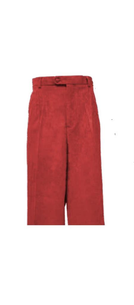Corduroy Rust Pleated Pants Slacks For Men unhemmed unfinished bottom