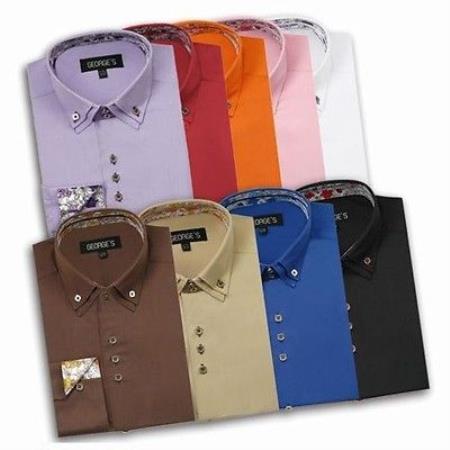 Cotton Blend Double Collar Square Button 10 Colors Style Multi-Color Mens Dress Shirt
