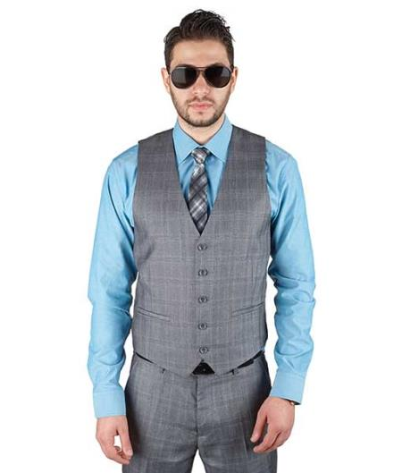 Cotton Blend 5 Button Plaid Grey Fashionable Dress Dress Tuxedo Wedding Vest ~ Waistcoat ~ Waist coat