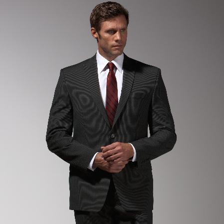 SKU#SJ734 Authentic Mantoni Brand Black Stripe ~ Pinstripe Suit