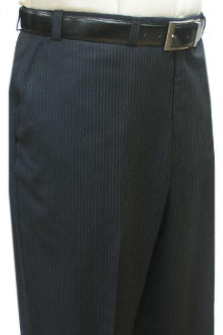 SKU#MAS711 Cotton Summer Light Weight Navy Blue Multi Stripe Single Reverse Pleat Pre-cuffed bottom