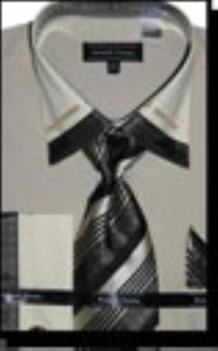SKU#BE3318 Cotton/Poly Blend French Cuff Dress Shirt with Matching Tie and Hanky Beige $65