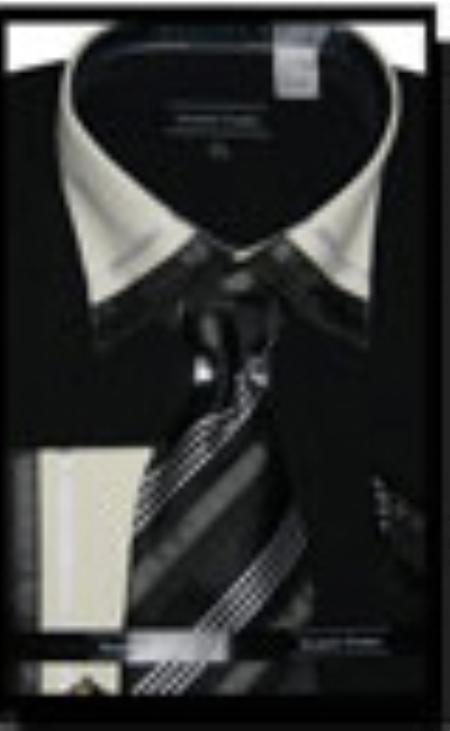 SKU#BL3579 Cotton/Poly Blend French Cuff Dress Shirt with Matching Tie and Hanky Black $65