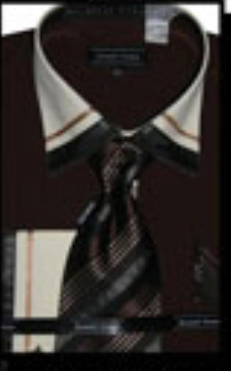 SKU#DB4328 Cotton/Poly Blend French Cuff Dress Shirt with Matching Tie and Hanky Dark Brown $65