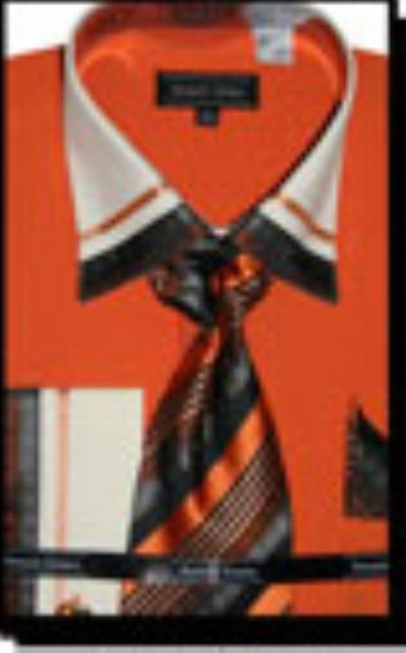 SKU#OR1008 Cotton/Poly Blend French Cuff Dress Shirt with Matching Tie and Hanky Orange $65