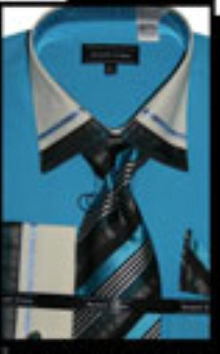 SKU#TU7753 Cotton/Poly Blend French Cuff Dress Shirt with Matching Tie and Hanky Turquoise $65