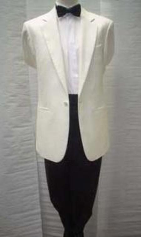 SKU#NM3 Cream~Ivory~OFF White Tuxedo 1 Button Dinner Jacket Single Breasted Notch Collar