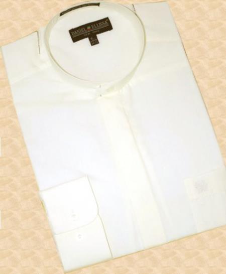 Banded Collar Cotton Blend Dress Fashion collarless Shirt Cream Mens Dress Shirt