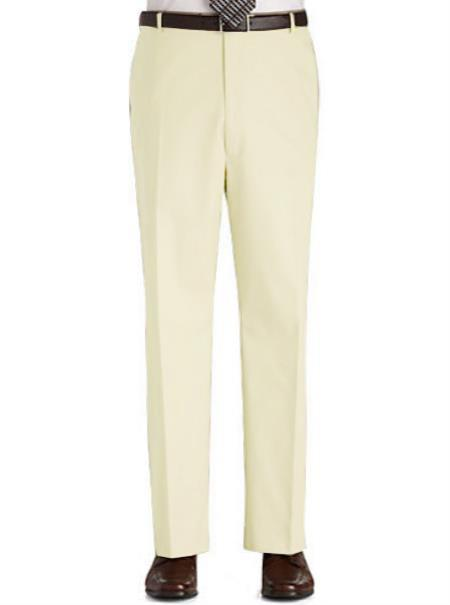 Stage Party Pants Trousers Flat Front Regular Rise Slacks - Cream